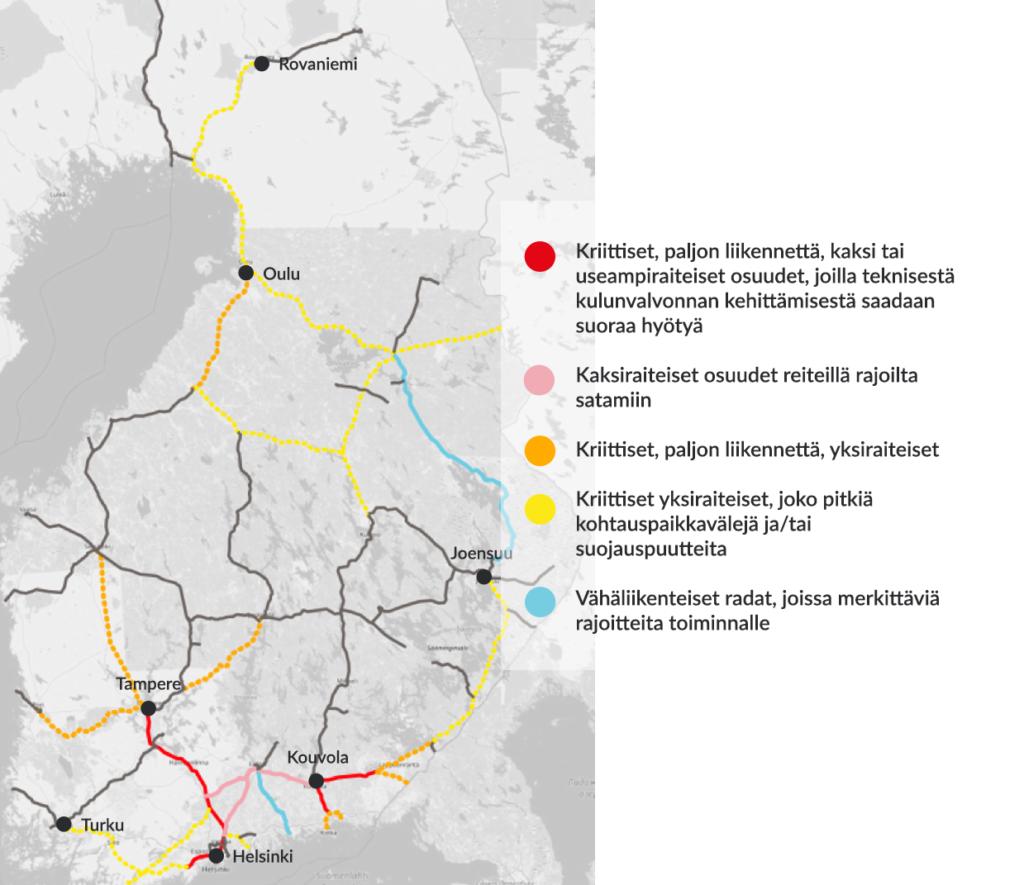 Rautatieliikenteen pullonkaulat Suomessa.